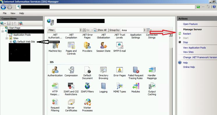 IIS Manager Restart Default Web Site