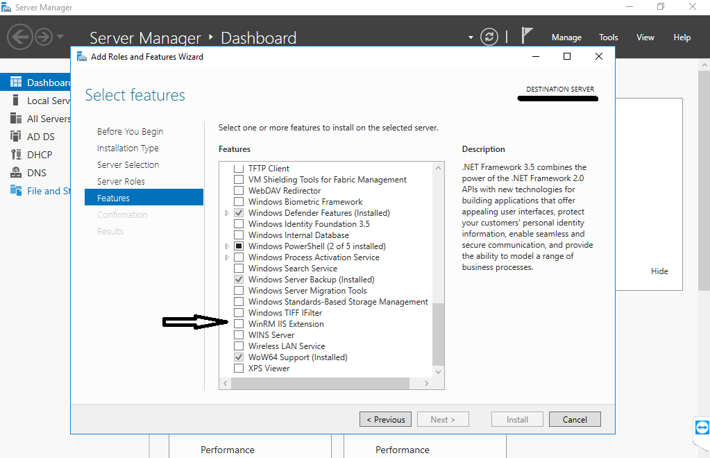 WinRM IIS Extension in Add Roles and Features Wizard